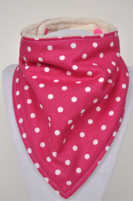 Fuchsia dot with ivory minky backing.