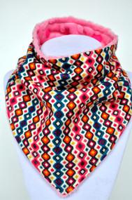 Pink Teal pattern with pink minky back bandana bib
