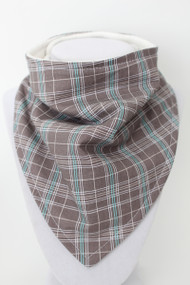 Grey and Blue Plaid bandana bib with organic bamboo back.