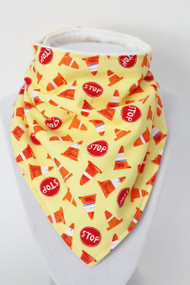 Construction & Stop Signs bandana bib with bamboo back.
