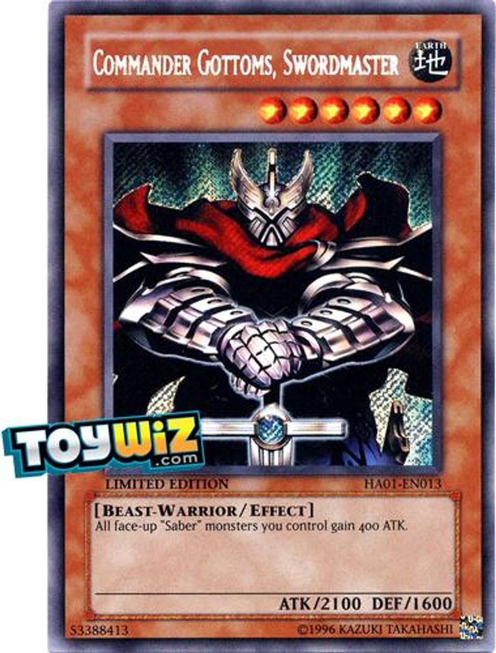 YuGiOh Hidden Arsenal 1 Secret Rare Commander Gottoms - Swordmaster HA01-EN013