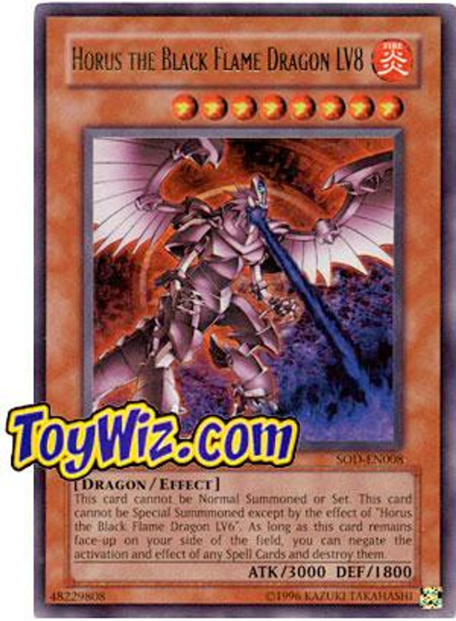YuGiOh Soul of the Duelist Ultra Rare Horus the Black Flame Dragon LV8 SOD-EN008