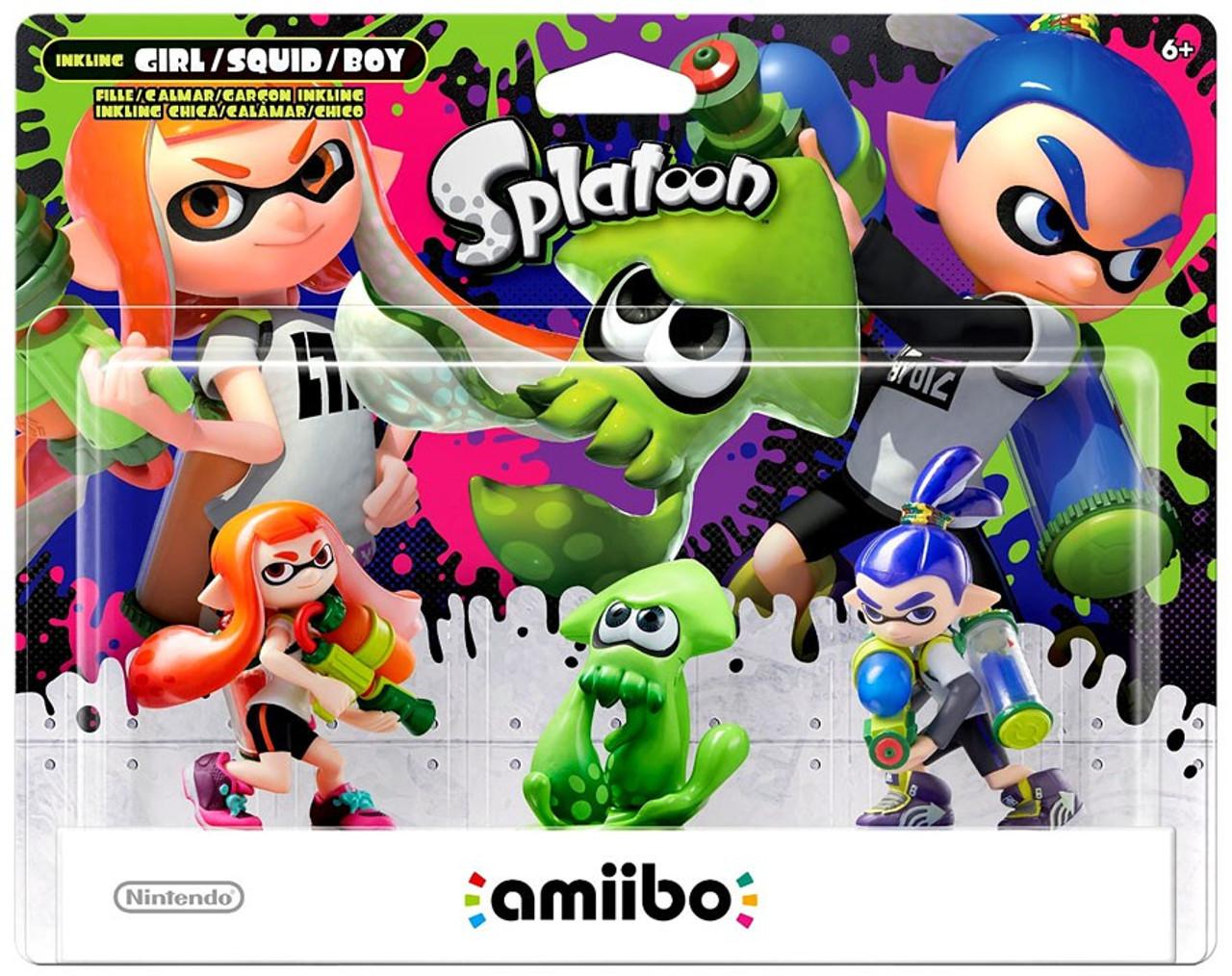 Nintendo Splatoon Amiibo Inkling Girl Squid Boy Mini Figure 3 Pack