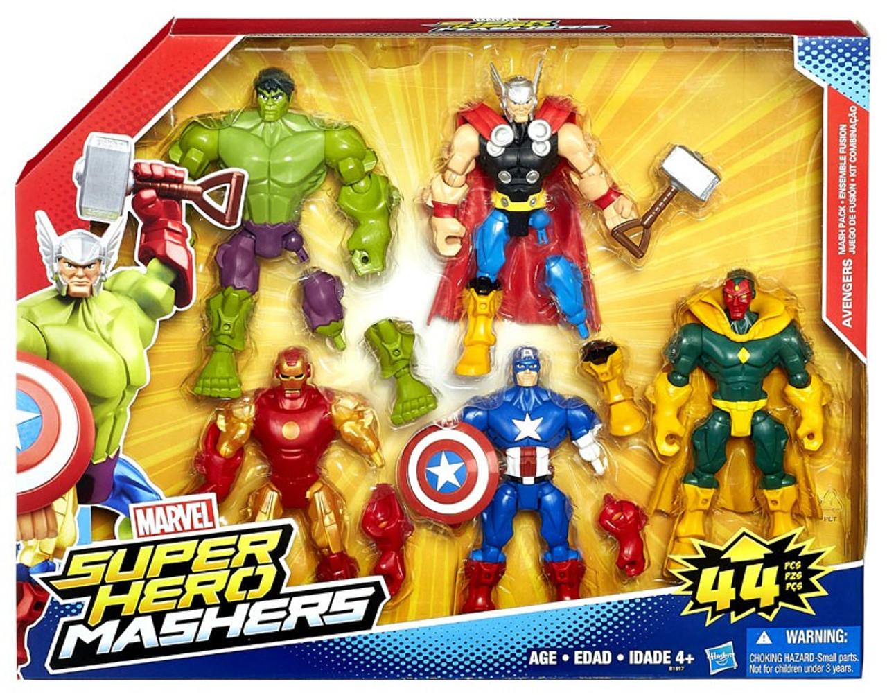 marvel super hero mashers battle mash pack captain america iron man hulk thor vision 6 action. Black Bedroom Furniture Sets. Home Design Ideas