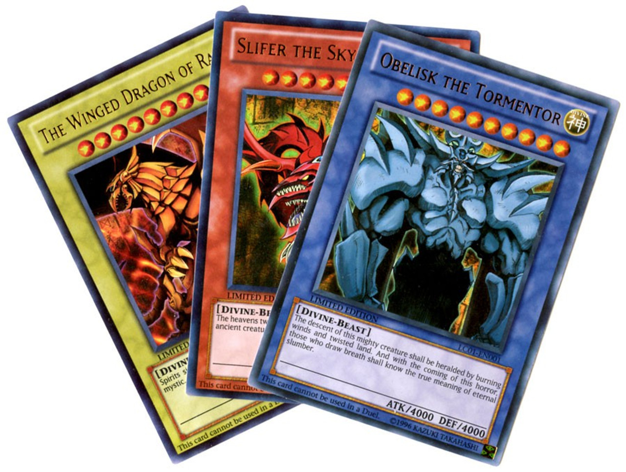YuGiOh Legendary Collection 1 Set of All 3 Legendary Collection Egyptian God Ultra Rare Single Cards LC01-EN001, EN002 & EN003