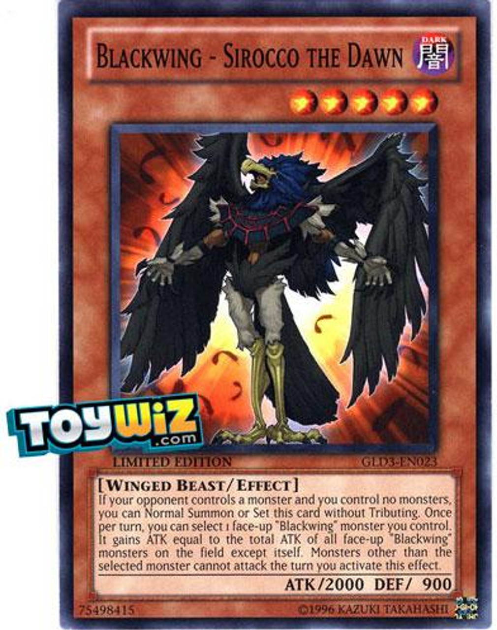 YuGiOh Gold Series 3 2010 Common Blackwing - Sirocco the Dawn GLD3-EN023