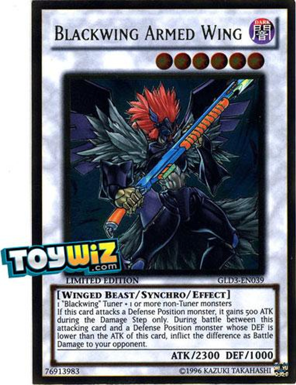 YuGiOh Gold Series 3 2010 Gold Rare Blackwing Armed Wing GLD3-EN039
