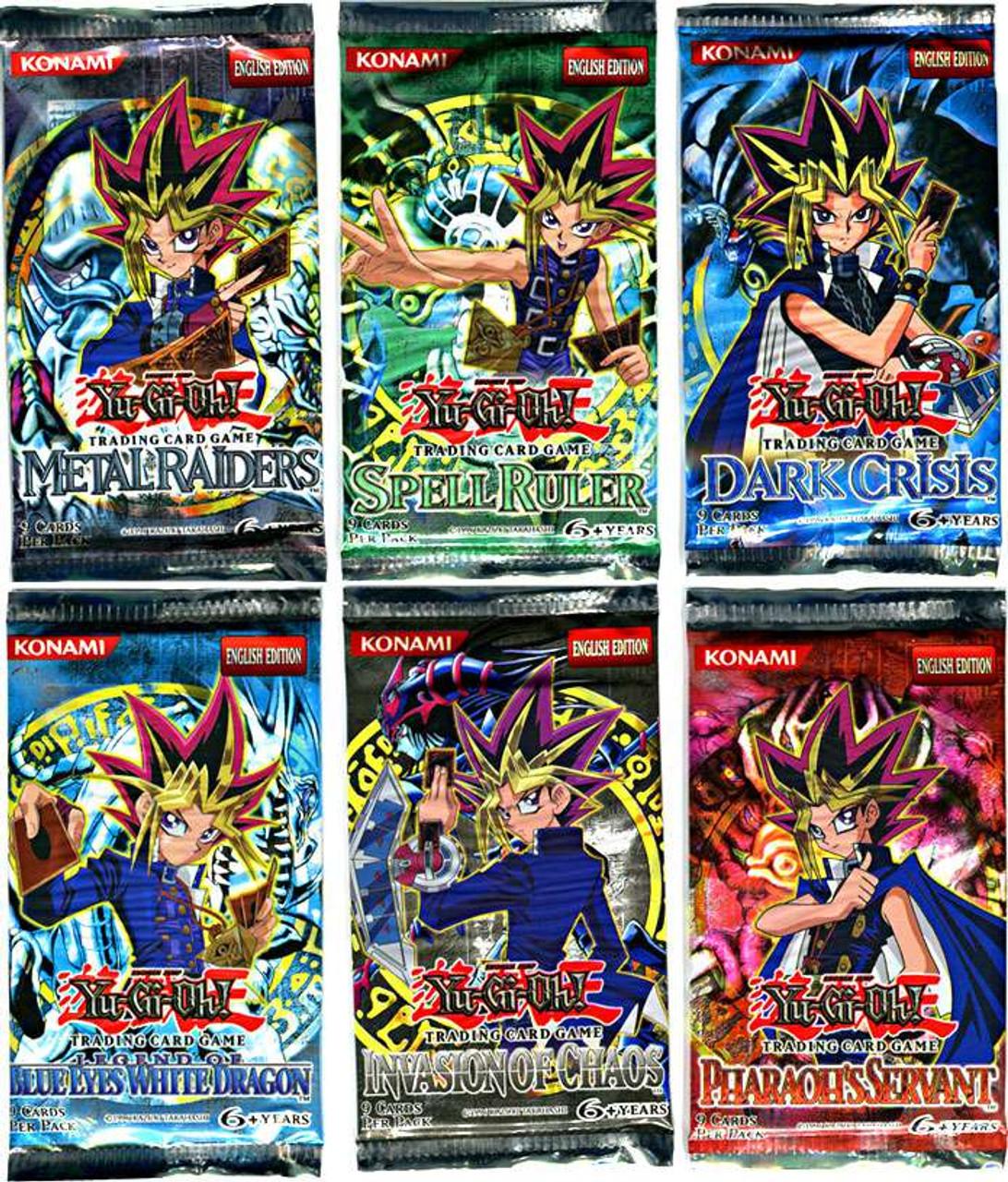 YuGiOh Invasion of Chaos, BEWD, Dark Crisis, Metal Raiders, Spell Ruler & Pharaoh's Servant LOT of 6 Booster Packs