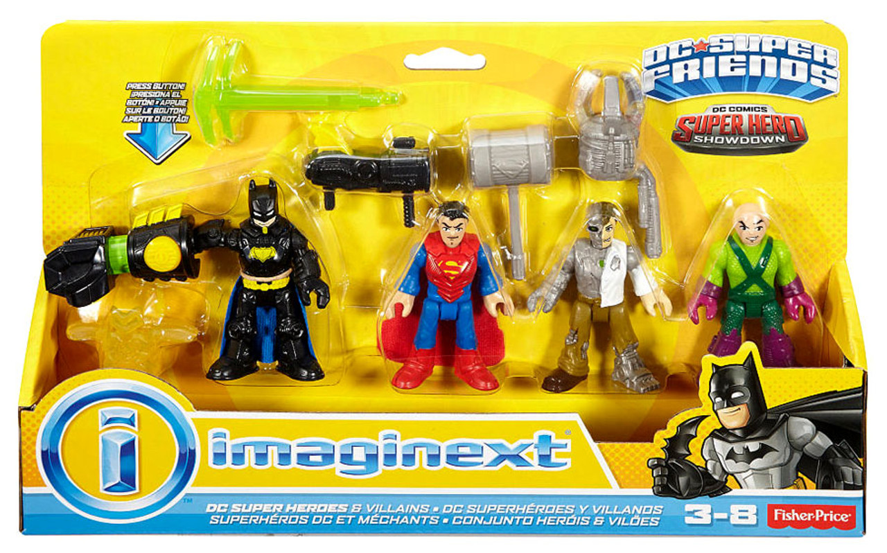 Fisher Price DC Super Friends Imaginext Super Hero Showdown Batman, Superman, Metallo Lex Luthor ...