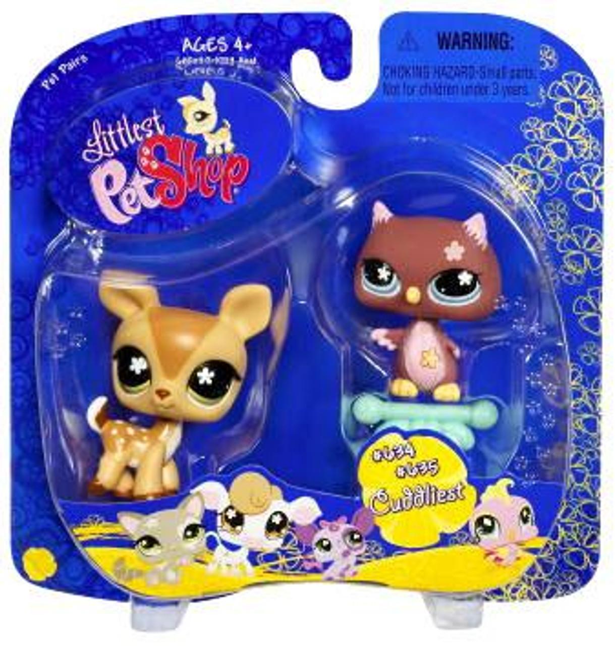 Littlest Pet Shop Pet Pairs Deer & Owl Figure 2-Pack #634, 635