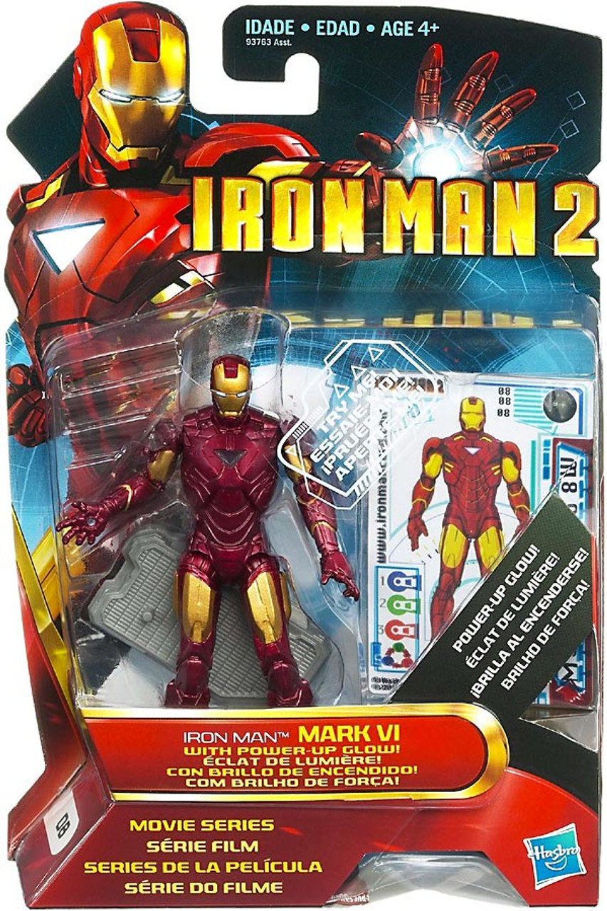 Iron Man 2 Movie Series Iron Man Mark VI With Power Up Glow Action Figure #8