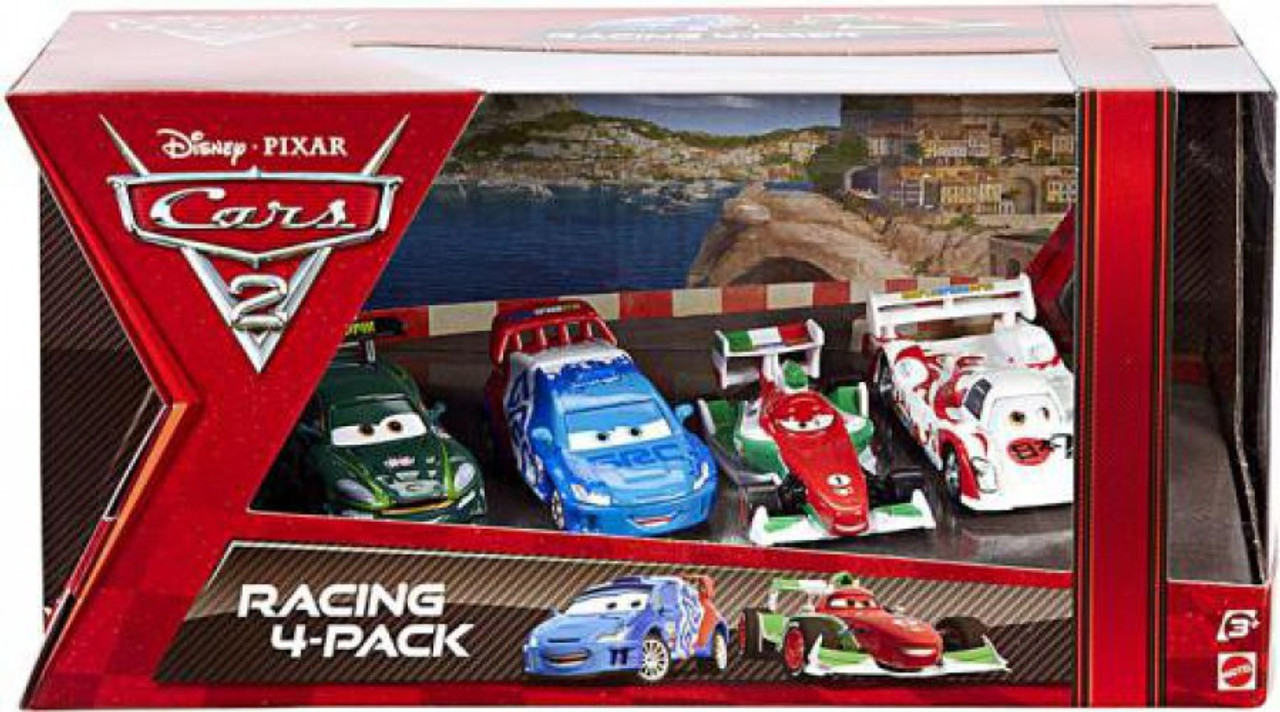Disney Cars Cars 2 Racing 4-Pack Gearsley, Caroule, Bernoulli & Todoroki Exclusive Diecast Car Set