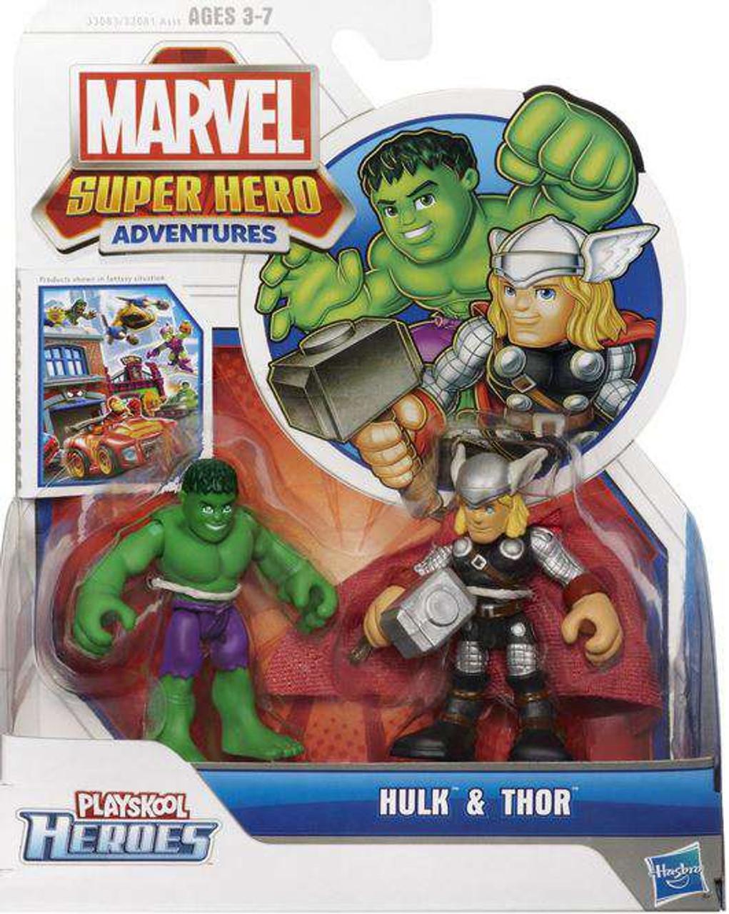 Marvel Playskool Heroes Super Hero Adventures Hulk & Thor Action Figure 2-Pack