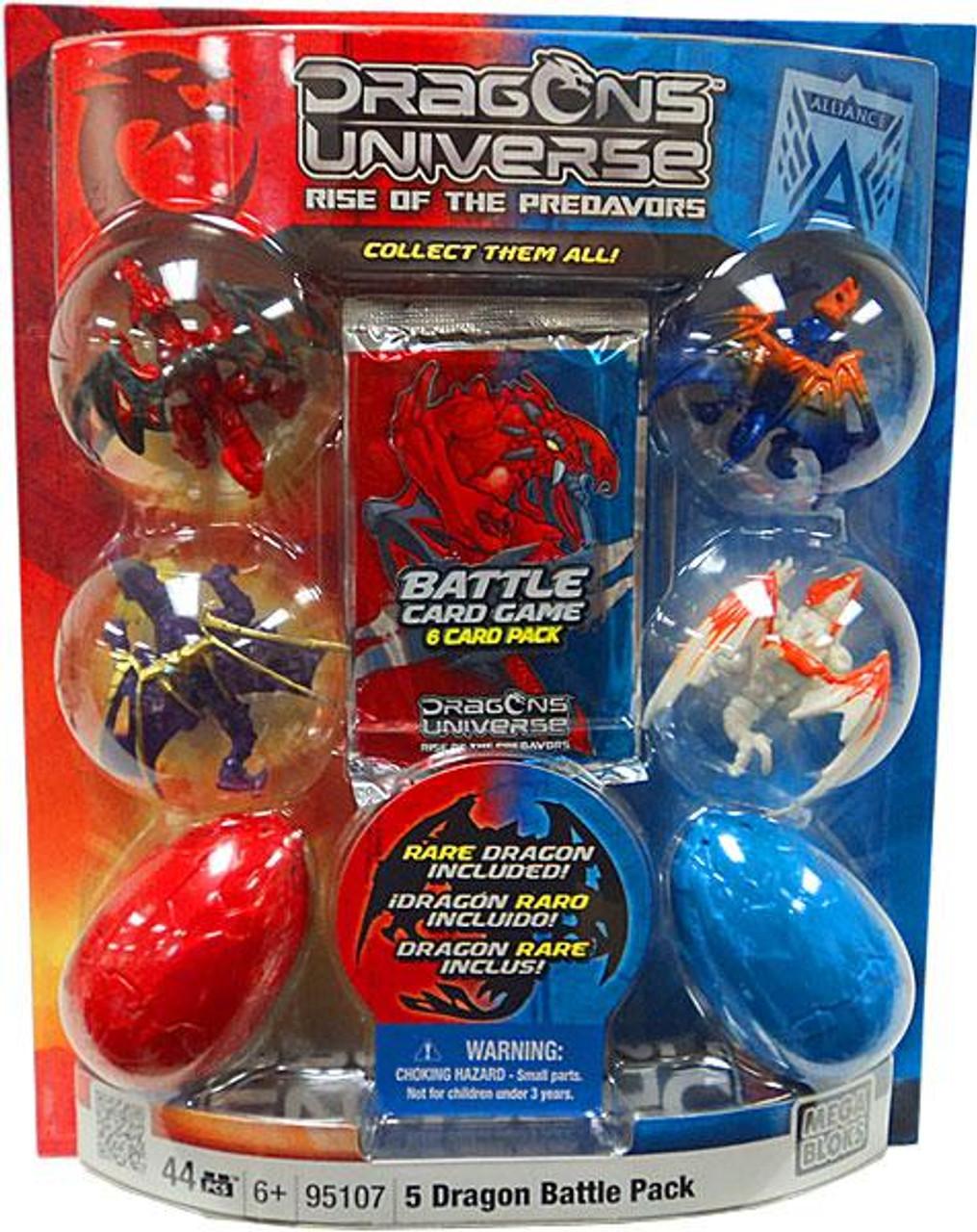 Mega Bloks Dragons Universe 5 Dragon Battle Pack Set #95107