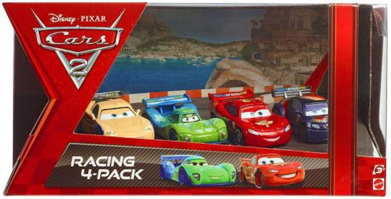 Disney Cars Cars 2 Racing 4-Pack Gorvette, Veloso, McQueen & Schnell Exclusive Diecast Car Set