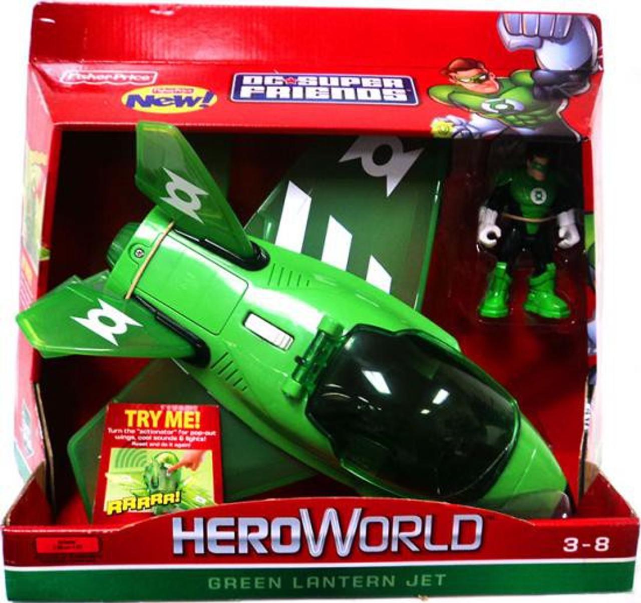 Fisher Price DC Super Friends Hero World Green Lantern Jet Action Figure Vehicle