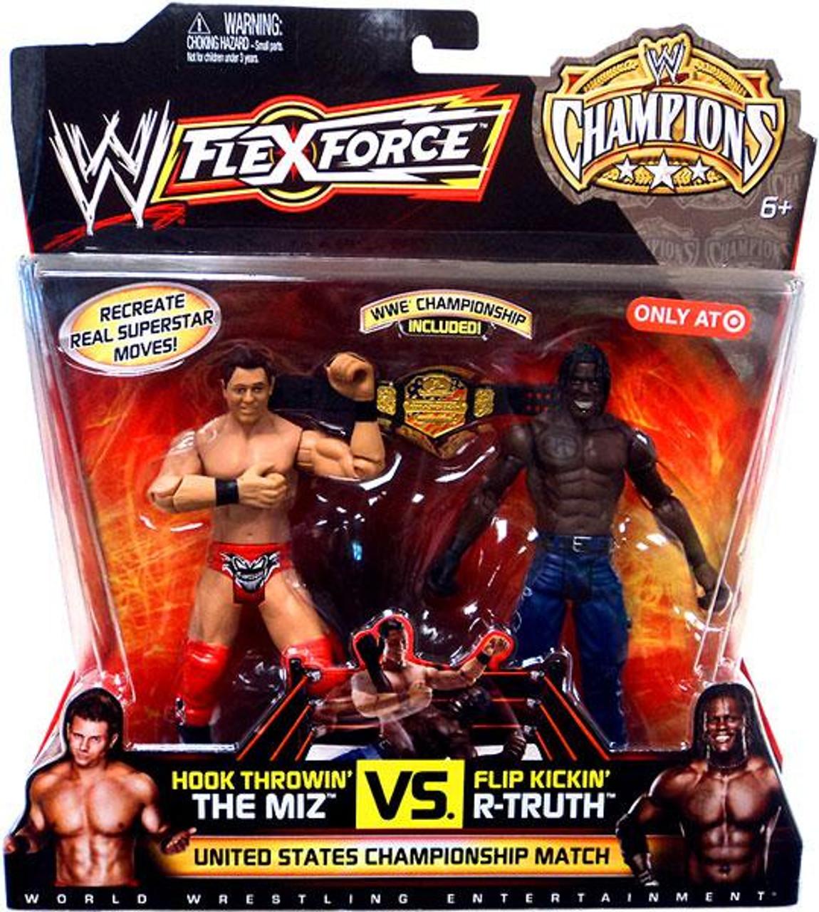 WWE Wrestling FlexForce Champions Hook Throwin' The Miz Vs. Flip Kickin' R-Truth Exclusive Action Figure 2-Pack