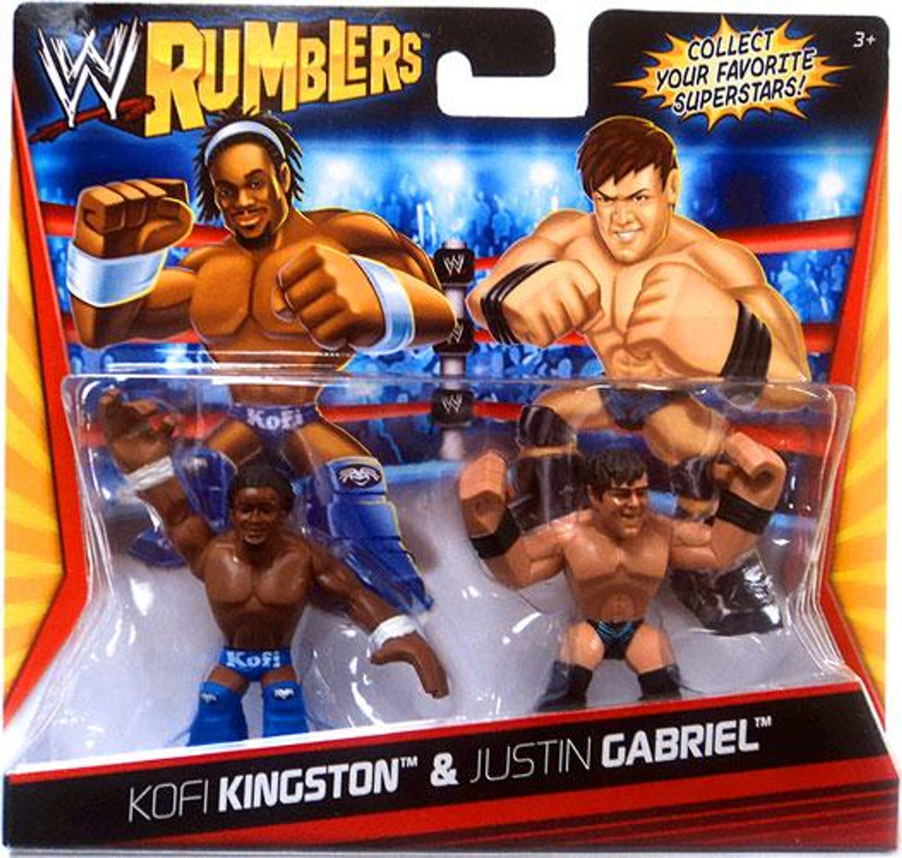 WWE Wrestling Rumblers Series 1 Kofi Kingston & Justin Gabriel Mini Figure 2-Pack
