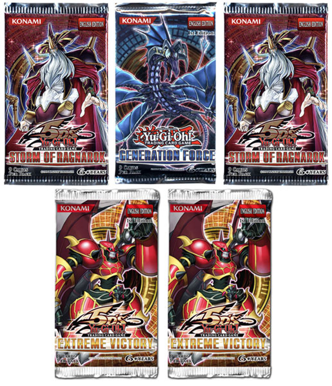 YuGiOh Custom 2 Storm of Ragnarok, 2 Extreme Victory & 1 Generation Force Booster Packs