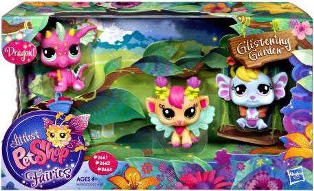 Littlest Pet Shop Fairies Glistening Garden Dragon, Daylily & Lavender Exclusive Figure 3-Pack #2661, 2662, 2663