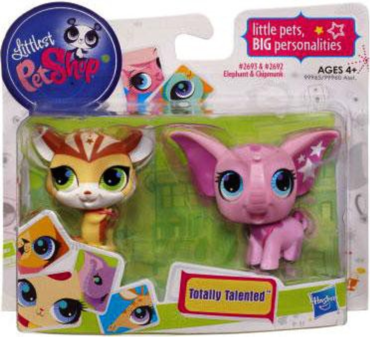 Littlest Pet Shop Totally Talented Pets Chipmunk & Elephant Figure 2-Pack #2693, 2692