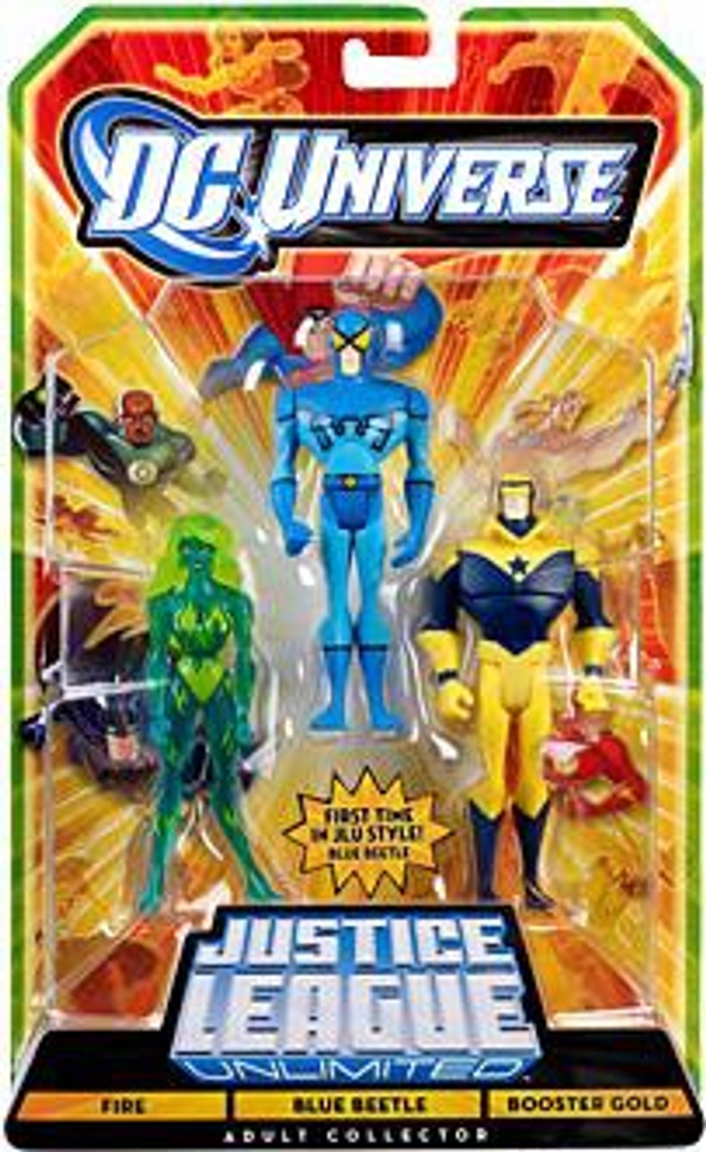 DC Universe Justice League Unlimited Fire, Blue Beetle & Booster Gold Exclusive Action Figures