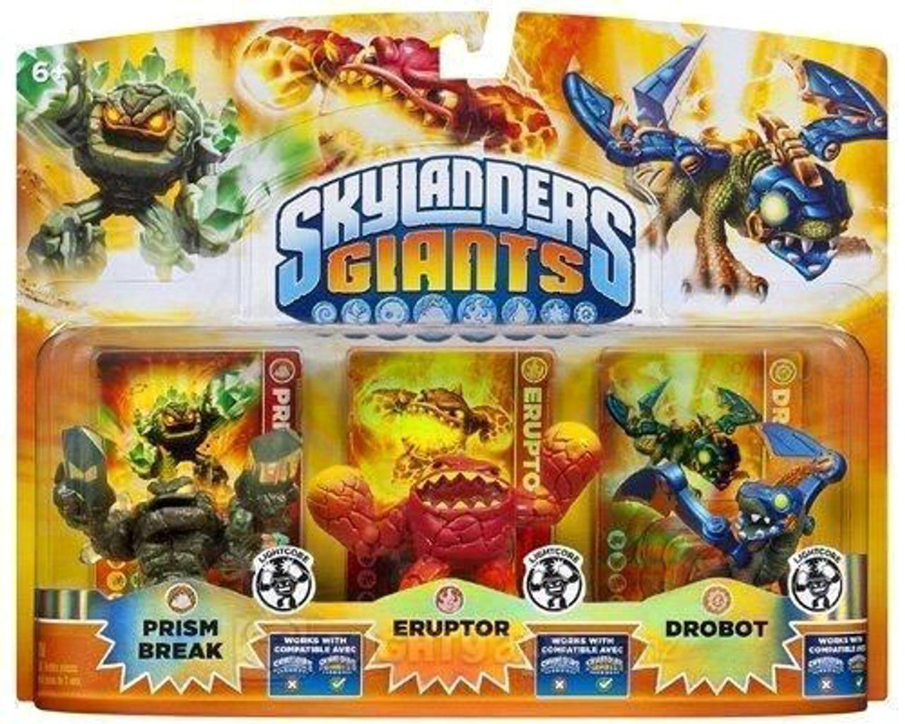 Skylanders Giants Lightcore Prism Break, Eruptor & Drobot Exclusive Figure 3-Pack