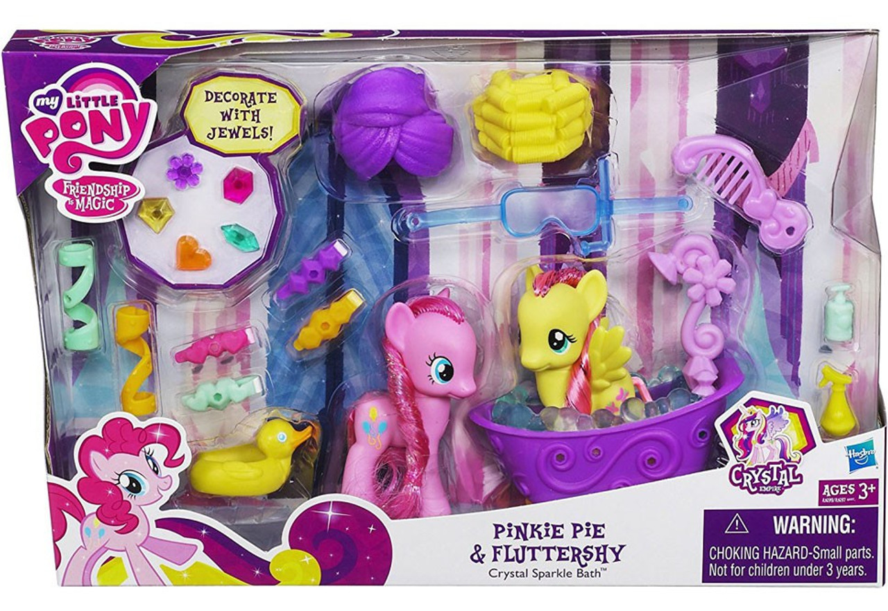 My Little Pony Friendship is Magic Crystal Empire Pinkie Pie & Fluttershy Crystal Sparkle Bath Figure Set
