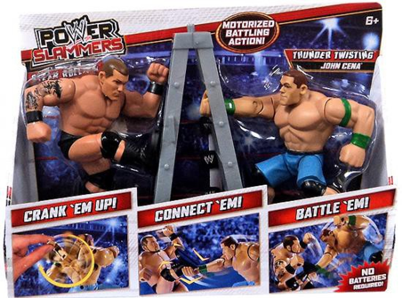 WWE Wrestling Power Slammers Steam Rolling Randy Orton & Thunder Twisting John Cena Action Figure 2-Pack