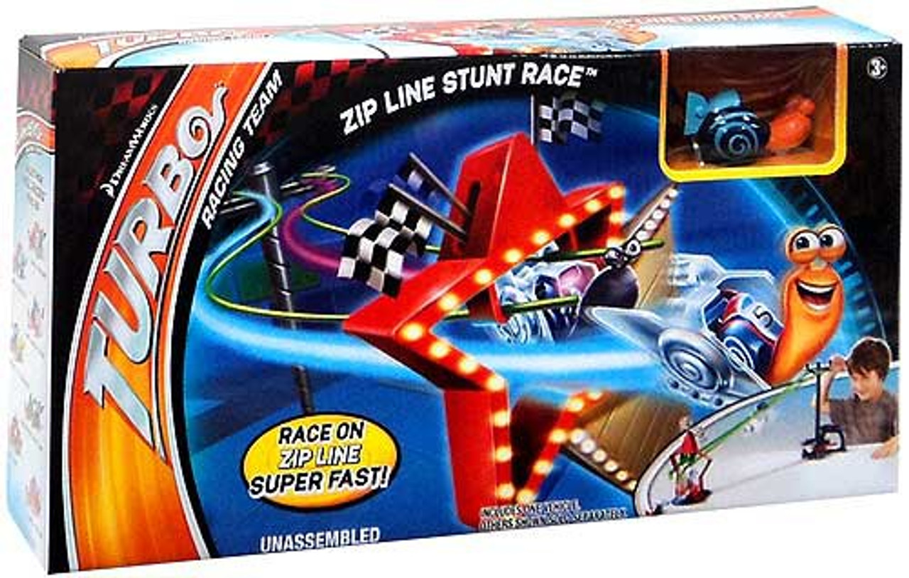 Turbo Zip Line Stunt Race Track Set