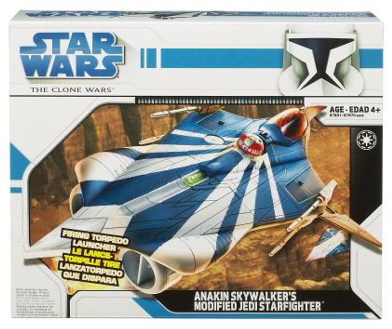 Star Wars The Clone Wars Vehicles 2008 Anakin Skywalker's Modified Jedi Starfighter Action Figure Vehicle