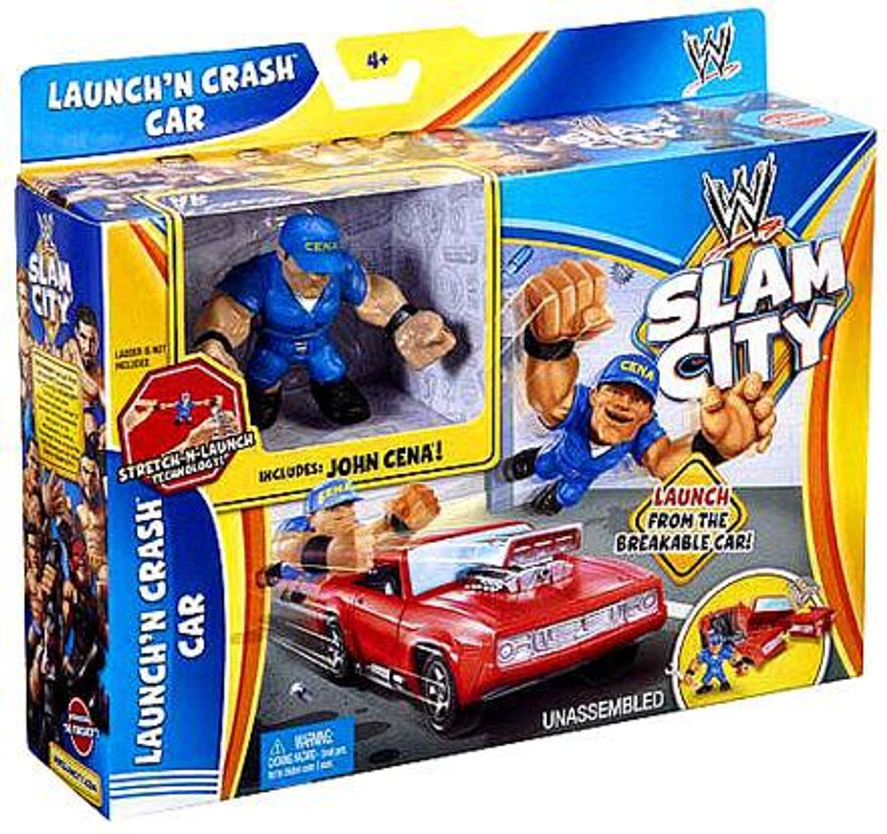 WWE Wrestling Slam City Launch'N Crash Car Mini Figure Playset