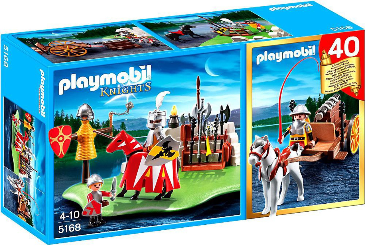 Playmobil Knights 40th Anniversary Knight's Tournament Compact Set + Cannon Wagon Set #5168