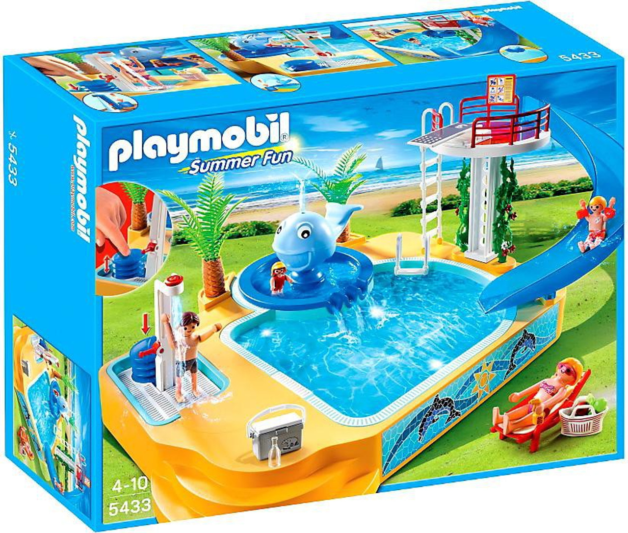 Playmobil summer fun childrens pool with whale fountain for Piscine playmobil