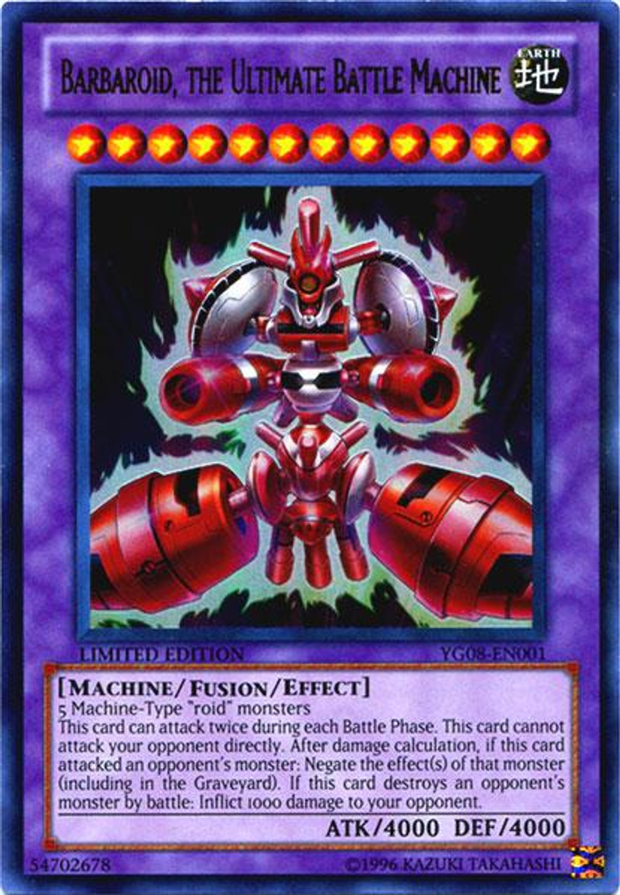 YuGiOh Shonen Jump Ultra Rare Barbaroid, The Ultimate Battle Machine YG08-EN001
