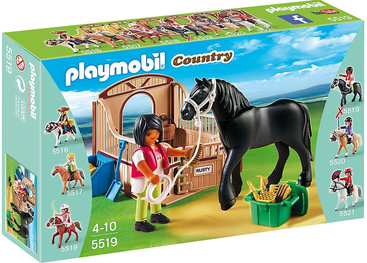playmobil country black stallion with stall set 5519 toywiz. Black Bedroom Furniture Sets. Home Design Ideas