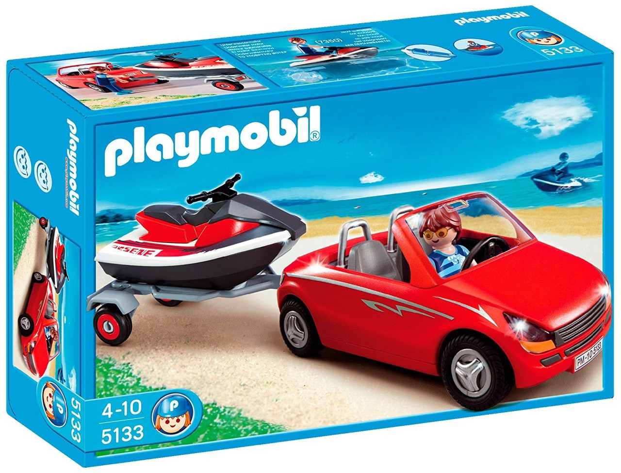 Playmobil Harbor Red Convertible with Personal Watercraft Set #5133