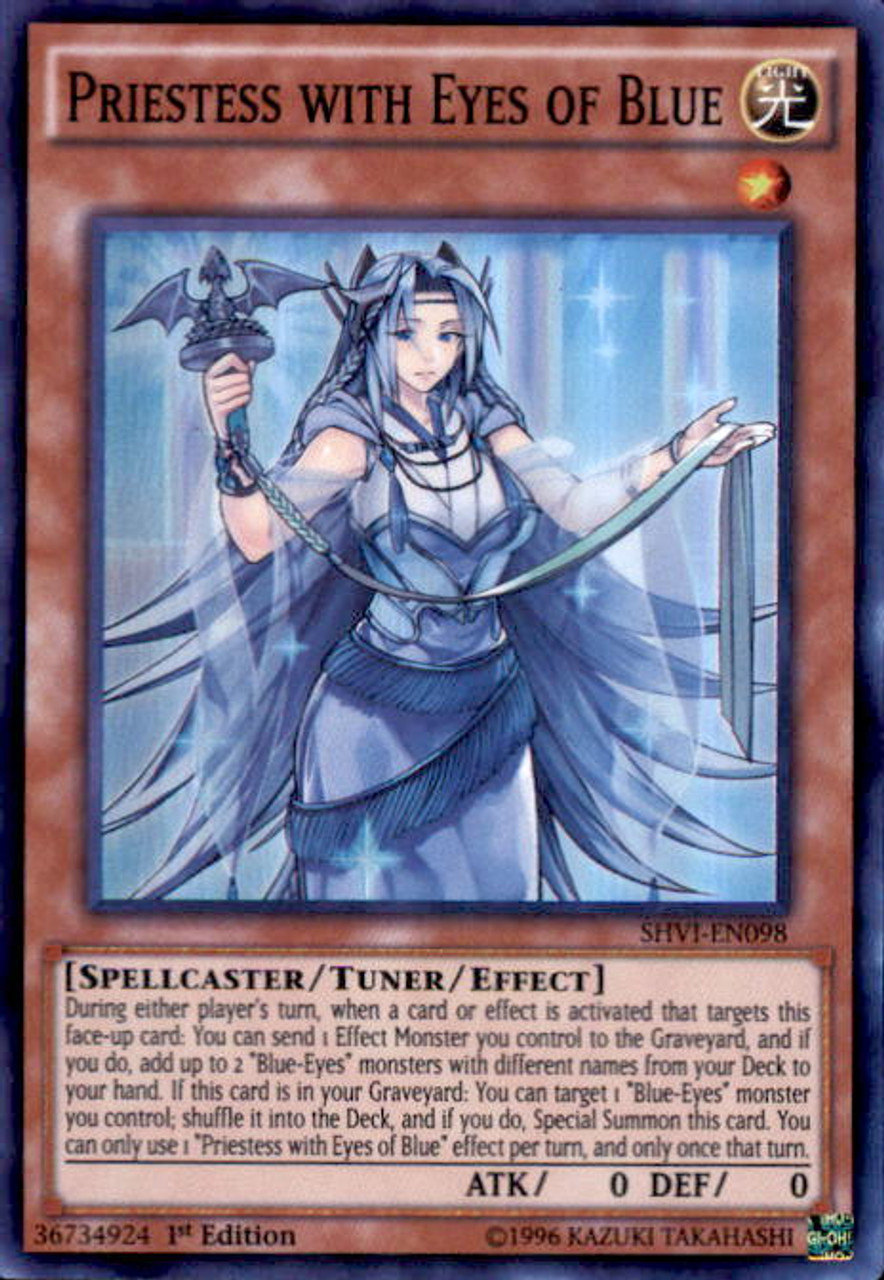 YuGiOh Shining Victories Super Rare Priestess with Eyes of Blue SHVI-EN098