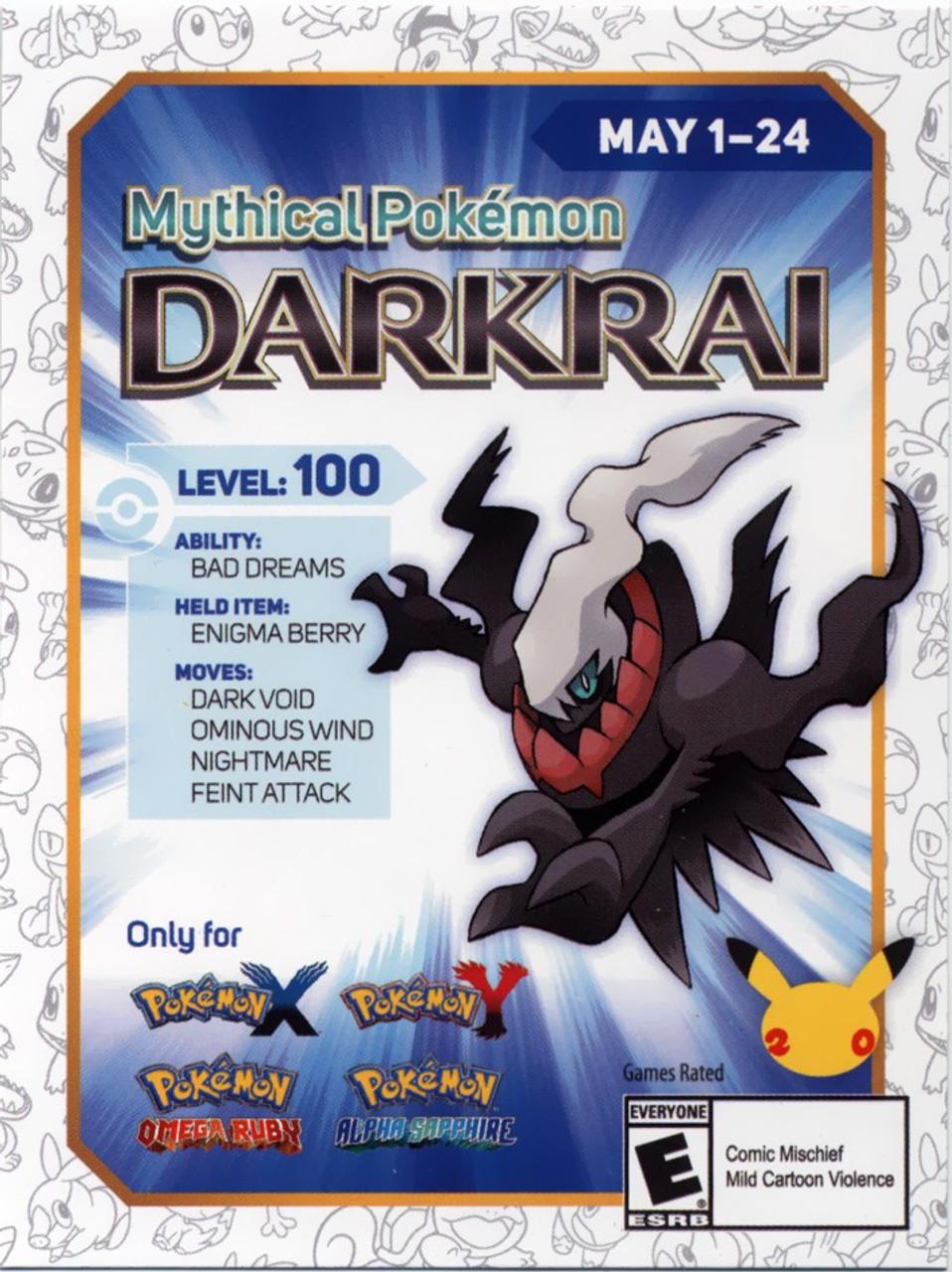 Pokemon X Y 3ds Mythical Darkrai Code Card