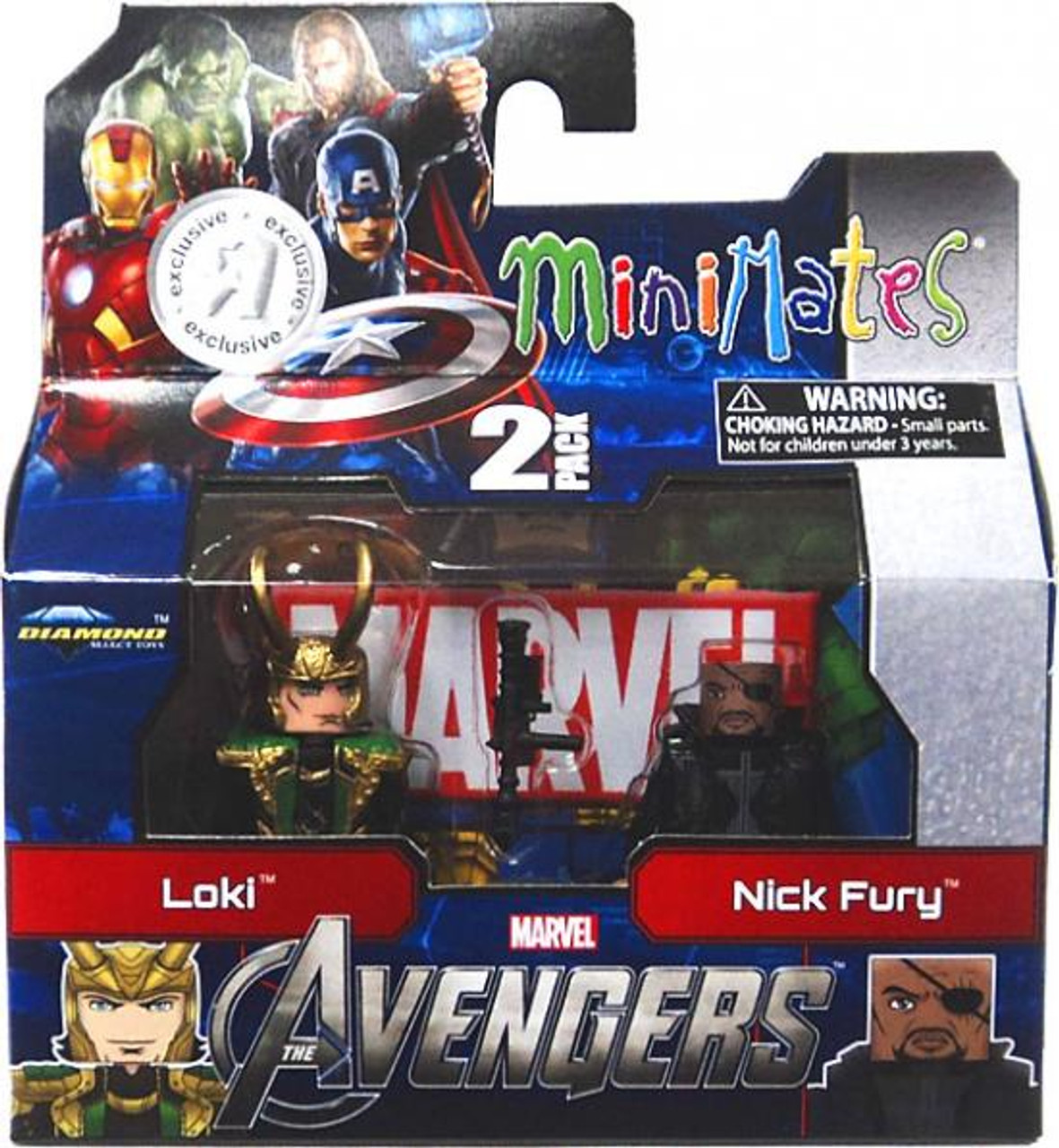 Marvel Minimates Avengers Movie Loki & Nick Fury Exclusive Minifigure 2-Pack