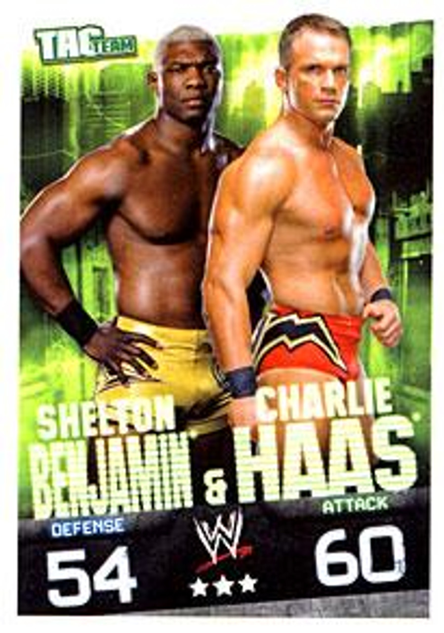 WWE Wrestling Slam Attax Evolution Series 1 Tag Team Base Card Shelton Benjamin & Charlie Haas