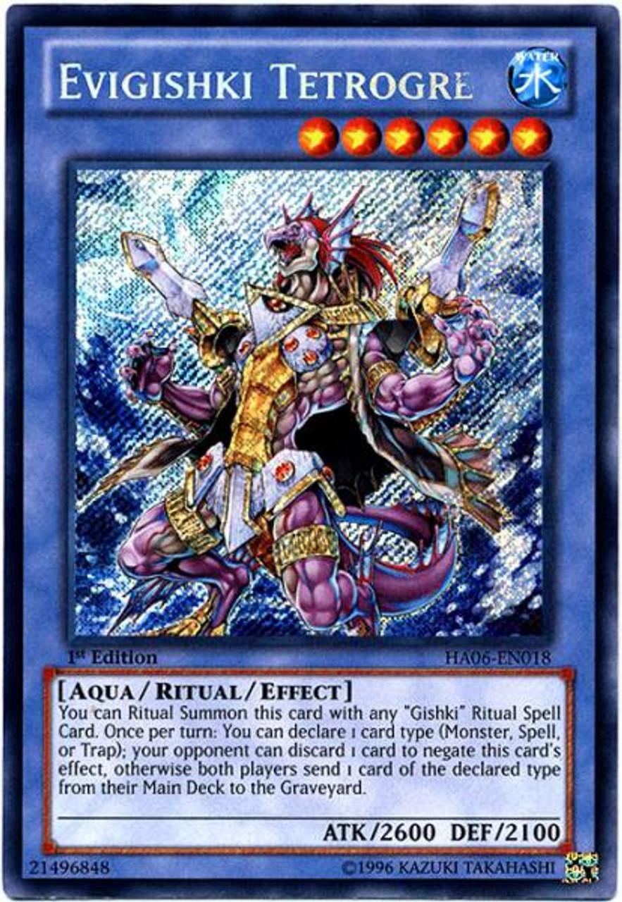 YuGiOh Zexal Hidden Arsenal 6: Omega XYZ Secret Rare Evigishki Tetrogre HA06-EN018