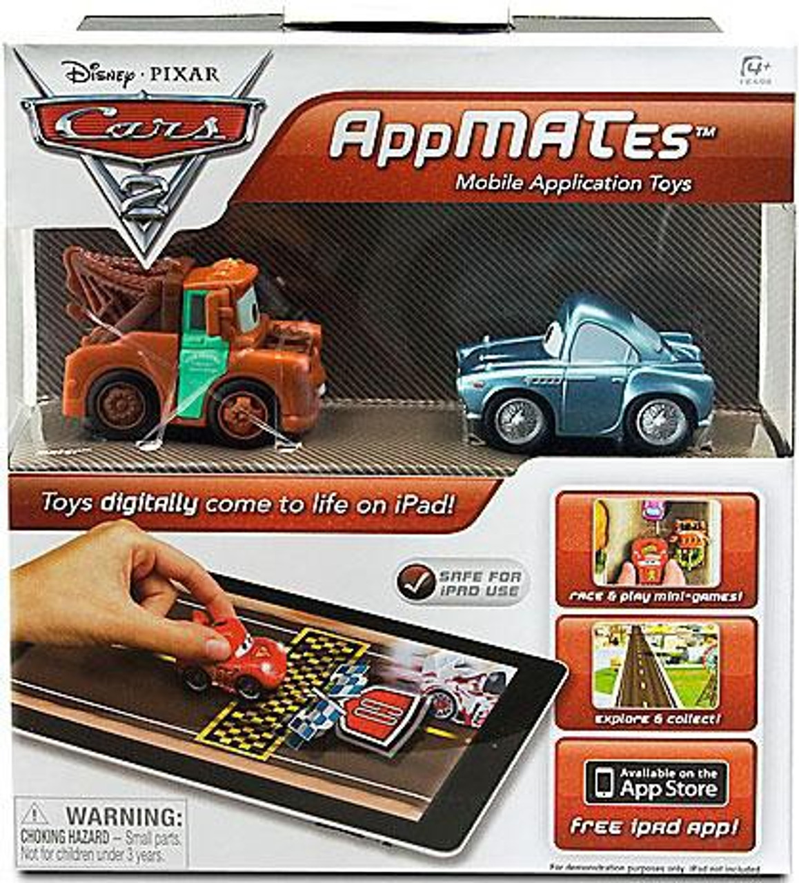 Disney Cars Cars 2 Mater & Finn McMissile AppMates Plastic Car 2-Pack