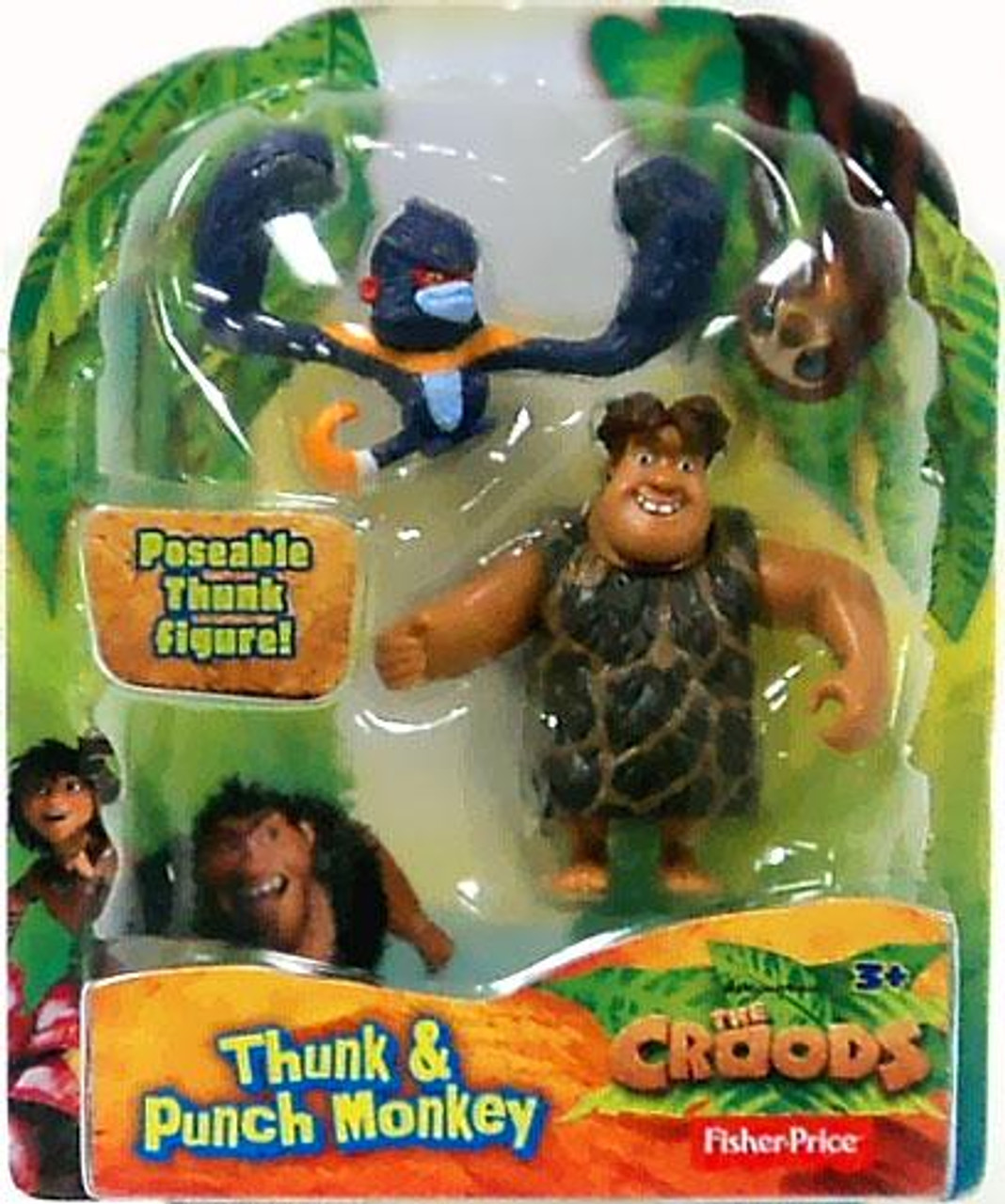 Fisher Price The Croods Thunk & Punch Monkey 3-Inch Figure 2-Pack