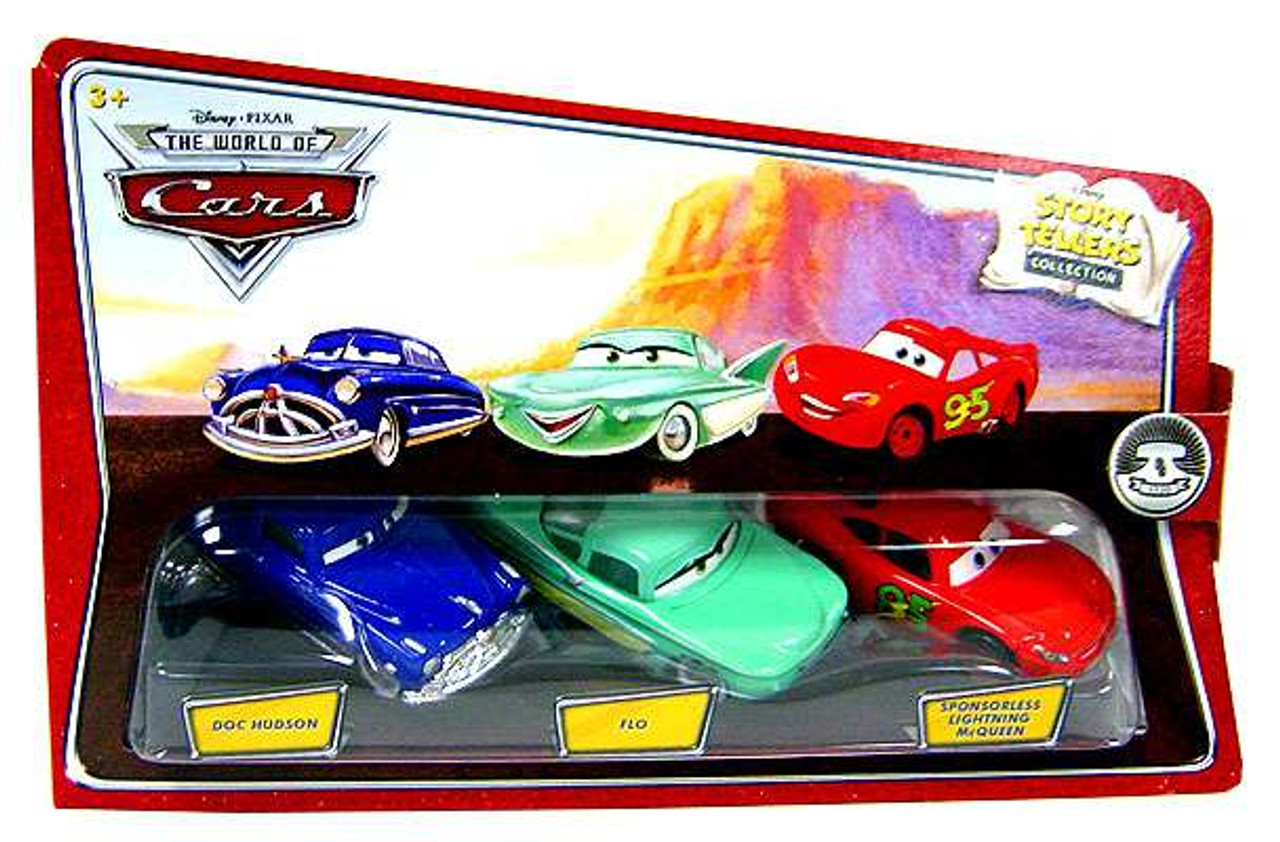 Disney Cars The World of Cars Story Tellers Doc Hudson, Flo & Sponsorless McQueen Diecast Car 3-Pack