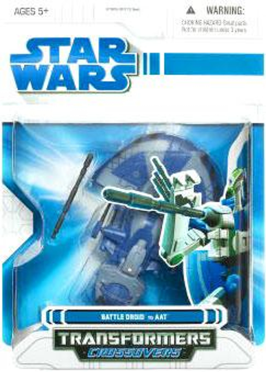 Star Wars The Clone Wars Transformers Crossovers 2009 Battle Droid to Trade Federation AAT Tank Action Figure
