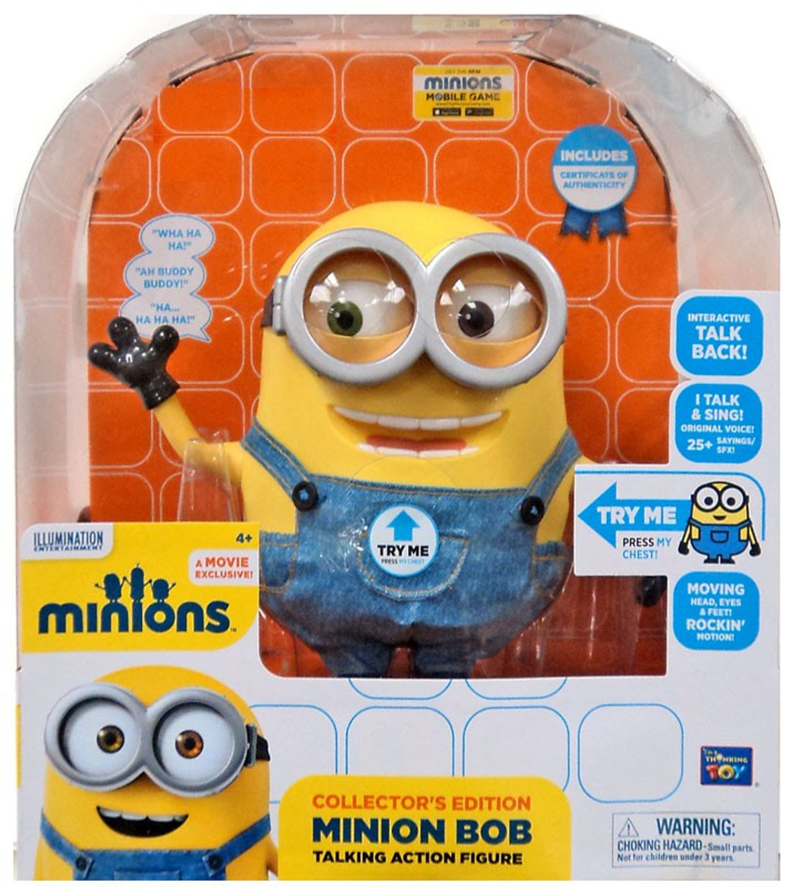 Despicable Me Minions Minion Bob Exclusive 9 Action Figure Interactive Talking Think Way