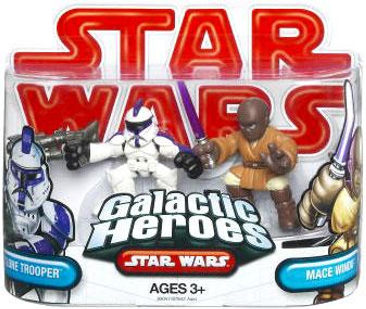 Star Wars Attack of the Clones Galactic Heroes 2009 Assault Battalion Clone Trooper & Mace Windu Mini Figure 2-Pack