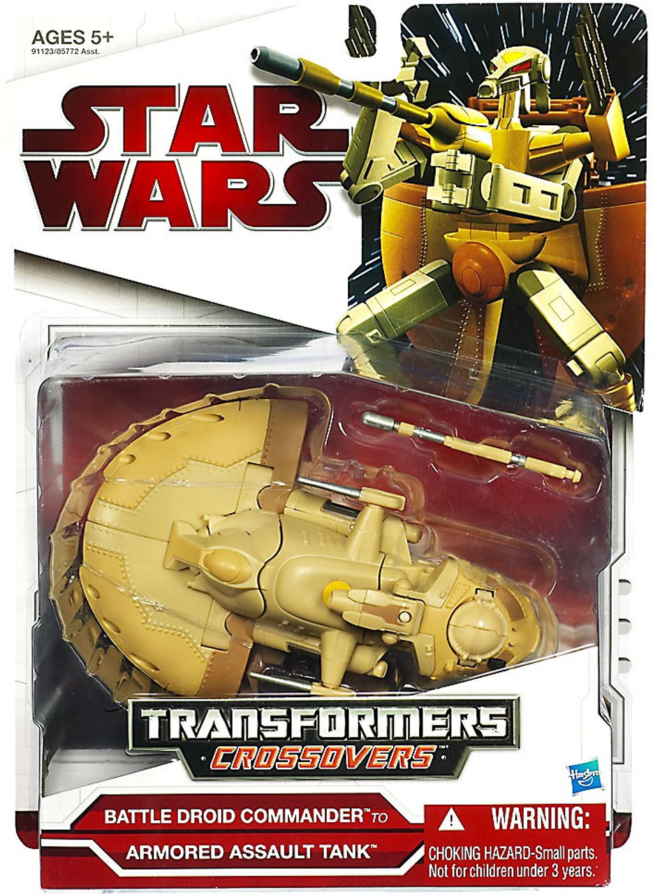 Star Wars The Phantom Menace Transformers Crossovers 2009 Battle Droid Commander to Armored Assault Tank Action Figure