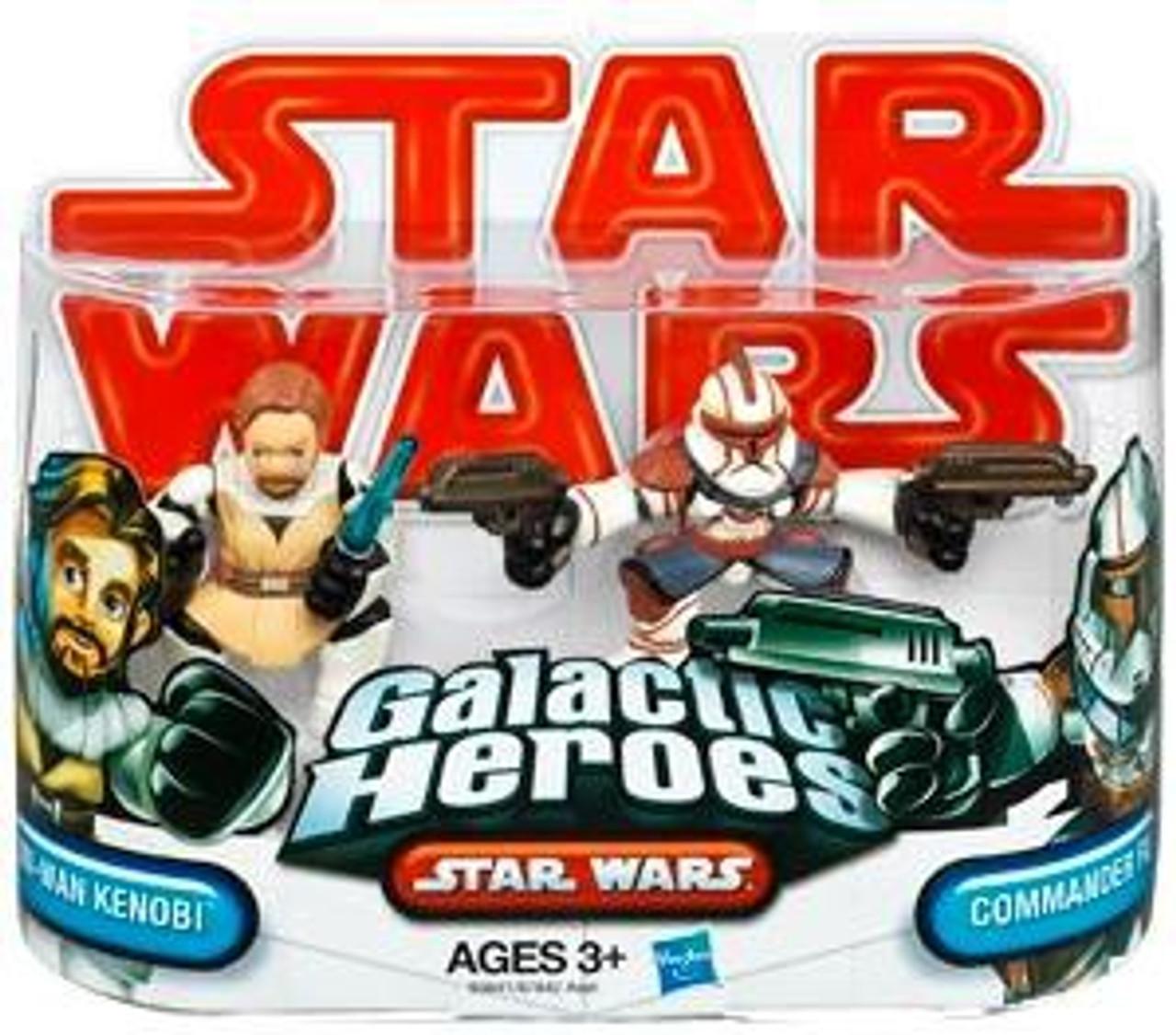 Star Wars Attack of the Clones Galactic Heroes 2009 Obi-Wan Kenobi & Commander Fil Mini Figure 2-Pack